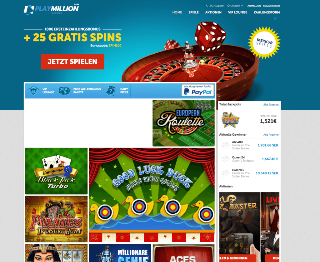 Playmillion 25 Gratis Spins