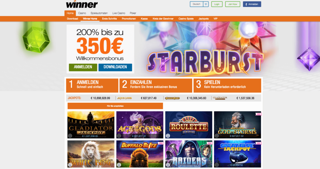 Winner Casino Bonus Angebot
